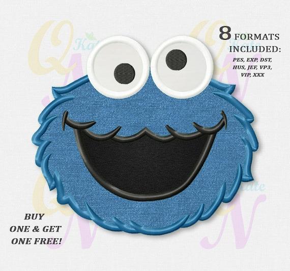 Bogo Free Cookie Monster Applique Embroidery Design Sesame Etsy