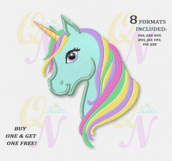 Bogo Free Rainbow Unicorn Applique Embroidery Design Rainbow Etsy