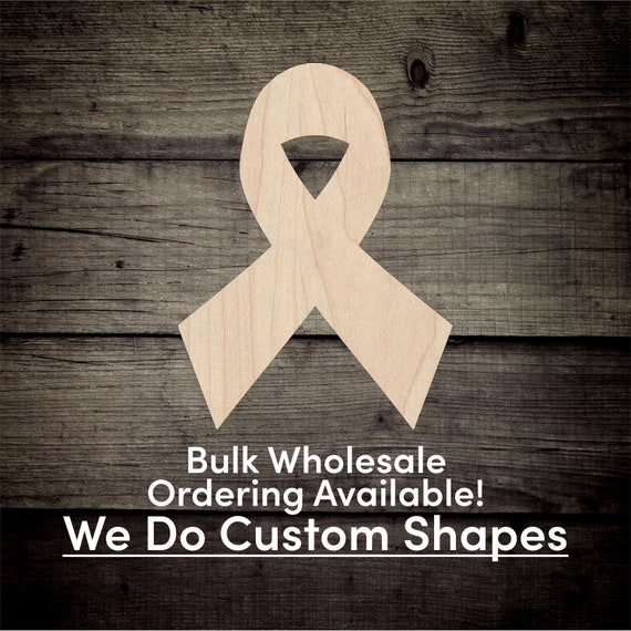 Package of 12-Unfinished Wood Awareness Ribbon Cutouts