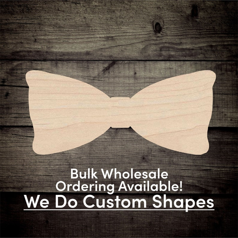 Bow Tie Unfinished Wood Cutout Shapes  Laser Cut DIY Craft image 0