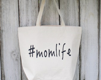 MomLife | Large | Eco-Friendly | Reusable | Shopping Bag | Market Bag | Tote Bag | Hand Painted | 100% Cotton Canvas | Made In USA
