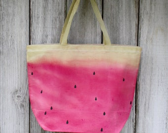 Watermelon|Large | Eco-Friendly | Reusable | Shopping Bag | Market Bag | Tote Bag | Dyed and Hand Painted | 100% Cotton Canvas | Made In USA