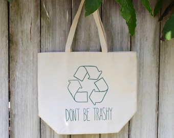 Recycle| Large | Eco-Friendly | Reusable | Shopping Bag | Market Bag | Tote Bag | Hand Painted | 100% Cotton Canvas | Made In USA