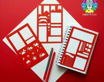 Set von 3 Schablonen, Bullet Journal Schablone, Bullet Journal Schablonen Planer, Bullet Point Journal Schablone, Schablone A5 Planer, glücklich planner