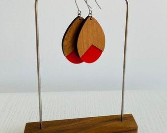 Cherry Wood and Acrylic Earrings