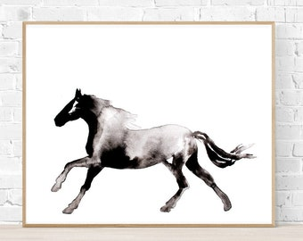 Horse Silhouette Painting, Abstract Horse Wall Art, Black and White Horse Painting in Ink, Print of Horse Painting, Horse Gift for Woman