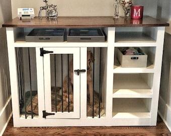BUILD PLANS for Dog Kennel with Shelves, DIY Dog Crate Furniture, Instant Digital Printable Build Plans, Wood Dog Kennel Tv Stand, Pet Crate