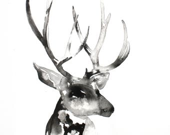 Deer Wall Art, Black and White Abstract Wall Art, Ink Deer Painting, Black and White Nature Art Print, Minimalist Art, Stag, Buck Silhouette