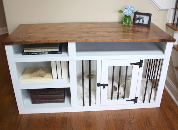 Made To Order Custom Built Dog Crate Furniture Dog Kennel Etsy - Wooden dog crate coffee table