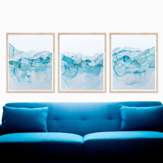 Abstract Paintings Set Of Three Prints Watercolor Blue Teal Etsy