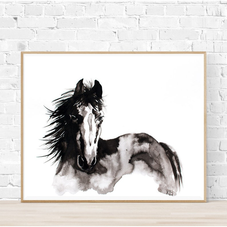 Horse Painting Black And White Watercolor Horse Wall Art Black White Ink Abstract Horse Wall Art Abstract Horse Painting Watercolor Ink