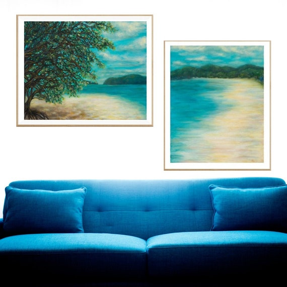 image about Printable Beach Pictures identify Mounted of 2 PRINTABLE Seaside Paintings, Ocean Wall Artwork, Immediate Electronic Down load of 2 First Oil Paintings, Costa Rica Seaside Wall Artwork, Blue