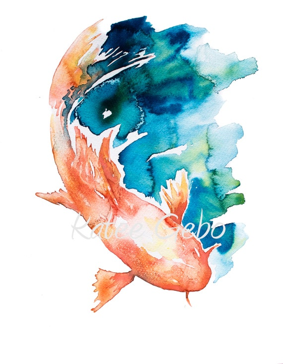 Watercolor Painting Print Of Koi Fish Painting Japanese Etsy