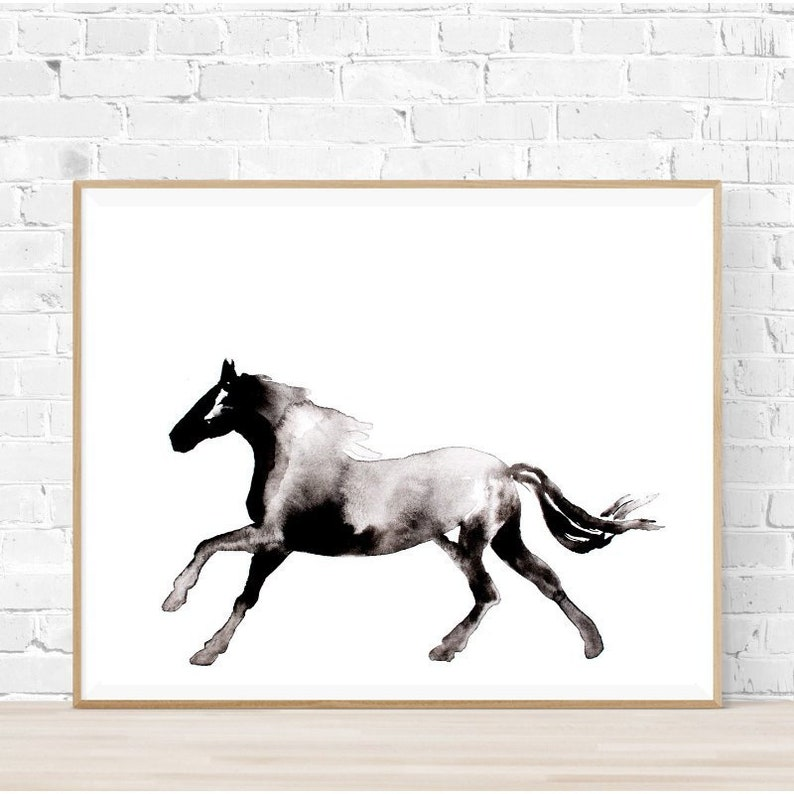 Horse Painting Wall Art Printable Horse Silhouette Digital Download Abstract Horse Print Black White Ink Horse Painting Horse Silhouette