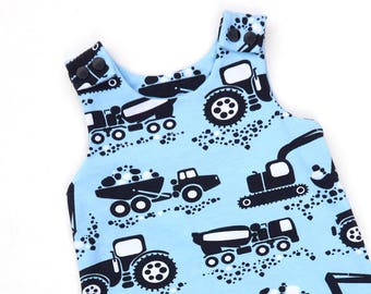 Machine Dungarees - Organic Baby Clothes, Toddler Clothes, Dungarees, Baby Romper, Harem Romper, Machines