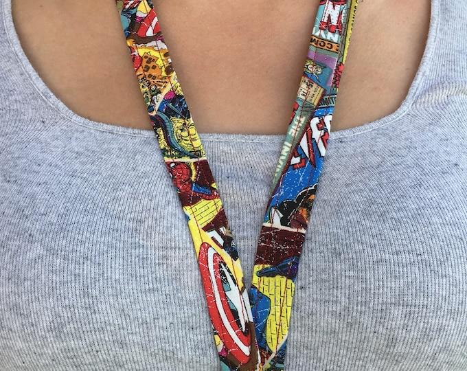 Marvel print handmade lanyard, Marvel key chain, Marvel gift Stocking Gift idea Christmas gift Idea Stocking stuffer