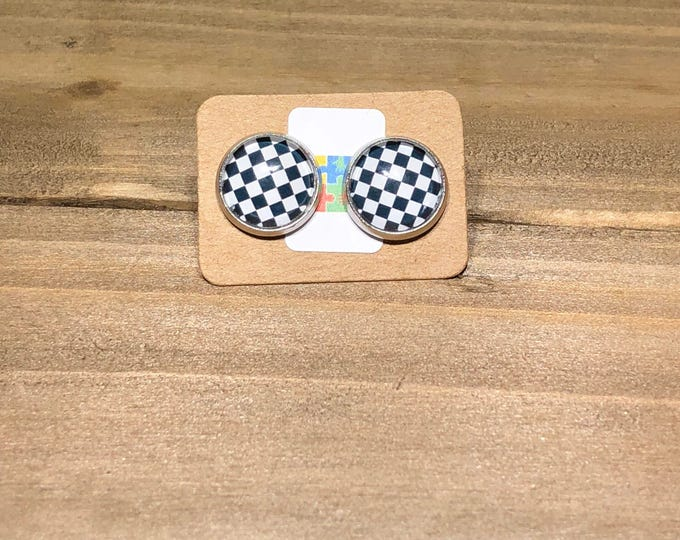 Checkered Stainless Steel Studs Stocking Gift idea Christmas gift Idea Stocking stuffer