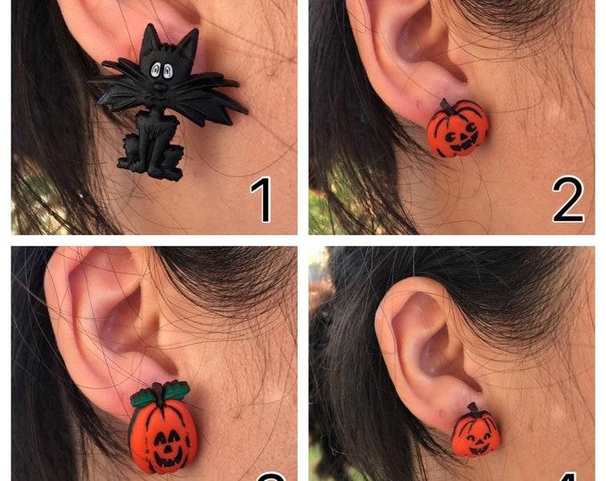 Cat earrings Pumkin earrings Halloween earrings Halloween gift idea Jack-o-lantern earrings