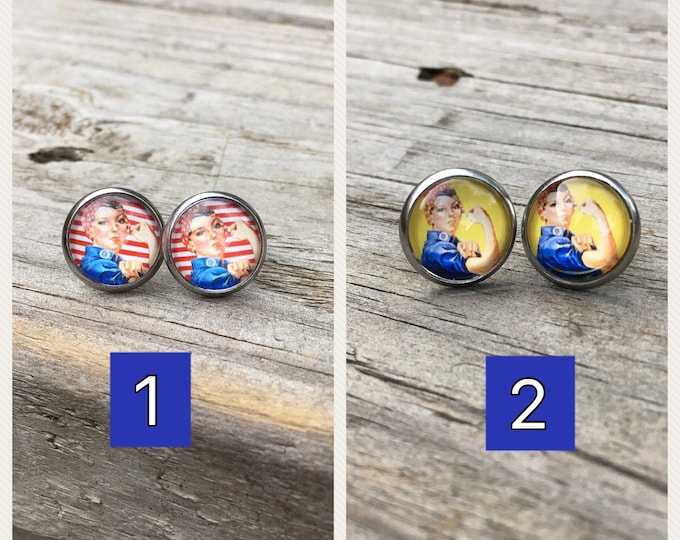 Rosie the Riveter stainless steel earrings, Rosie Riveter gift  Stocking Gift idea Christmas gift Idea Stocking stuffer