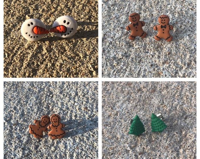 Christmas earrings snowman earrings ginger read man earrings Christmas tree earrings