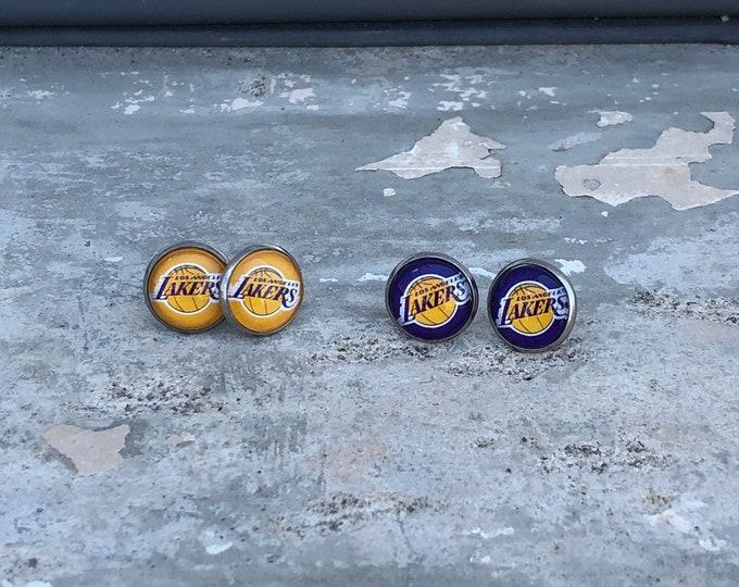 LA Lakers earrings LA Lakers jewelry Los Angeles studs Lakers dangle earrings Lakers gift idea