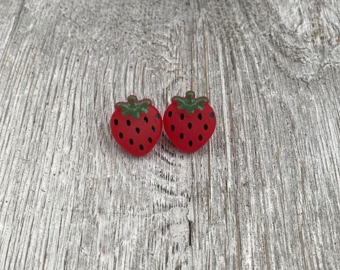 Strawberry earrings Fruit earrings
