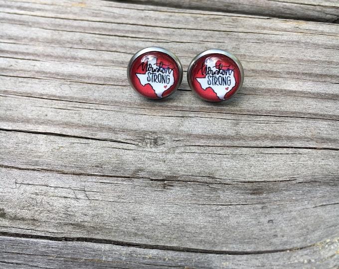Houston Strong Stainless Steel Earrings  Stocking Gift idea Christmas gift Idea Stocking stuffer