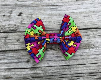 Bella puzzle piece autism awareness bow