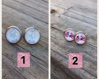Bicycle love stainless steel earrings, bike rider gift, bike riders,