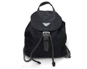 626a5839a4 Authentic Prada Nero Silver Chain Mini Backpack