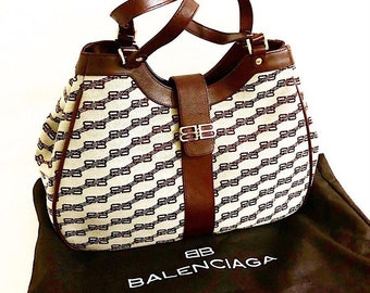 437ed737612e Authentic Vintage Balenciaga BB Monogram Tote Shoulder Bag