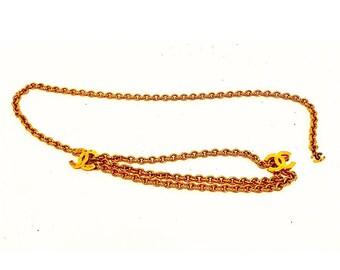 e8fc2b932f9 Vintage authentique CC chaîne ceinture en plaqué or de Chanel
