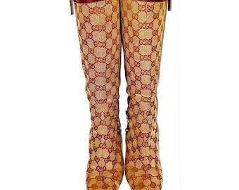 5398da3219a Authentic Vintage Gucci Monogram GG Boots Size 36C
