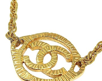 Authentic Vintage Chanel Gold Plated CC Choker Necklace