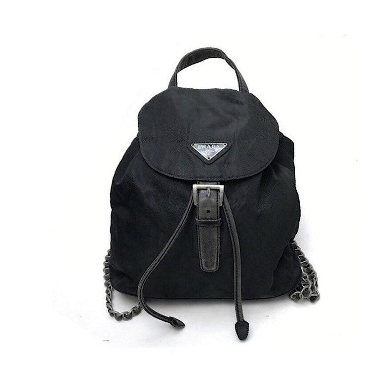 750a3998015940 Authentic Prada Nero Silver Chain Mini Backpack | Etsy