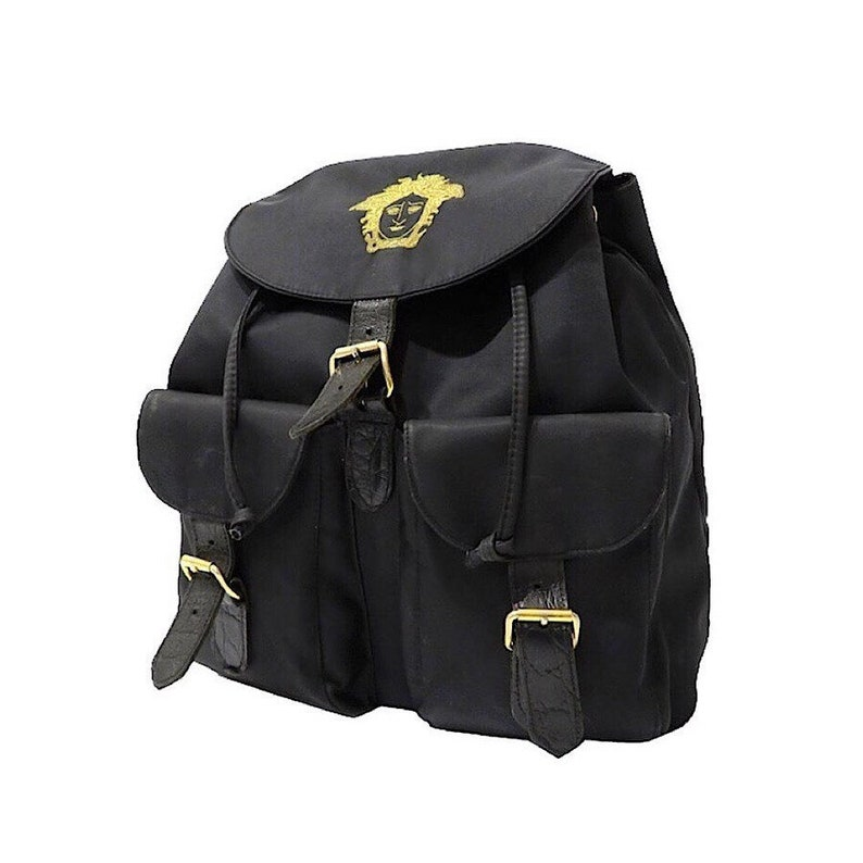 779bf44434 Authentic Versace Black Nylon Medusa Backpack   Etsy
