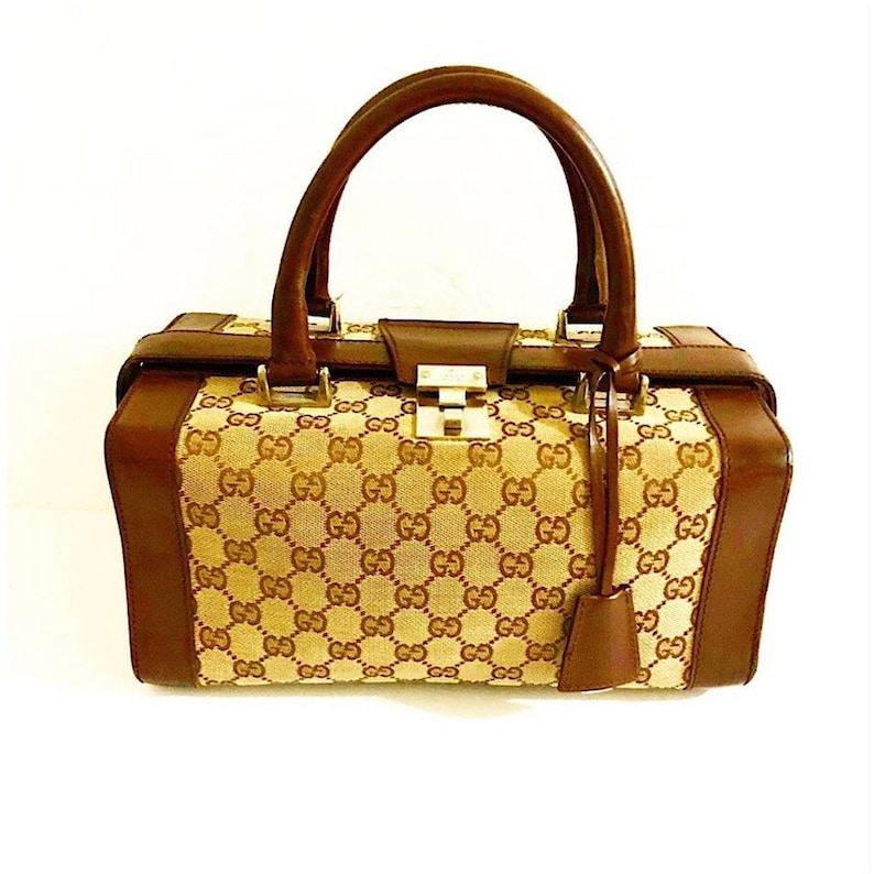b8a6b83441 Authentique Vintage Gucci monogramme boîte sac à main | Etsy
