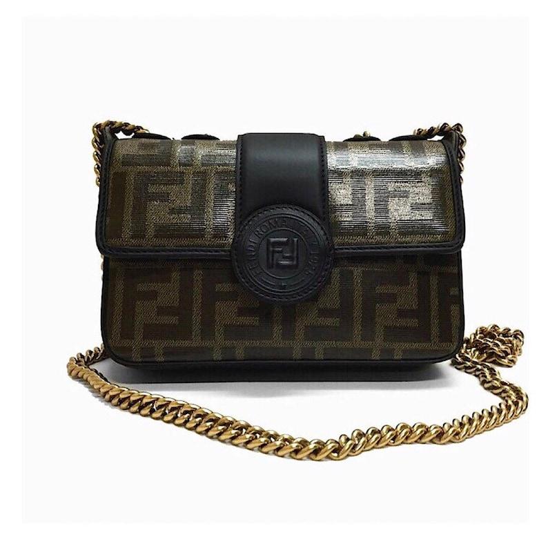 6c89e06621ce Authentic Fendi Zucca Mini Chain Crossbody Bag