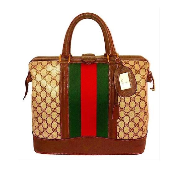 5425dc84ccc5 Authentic Vintage Gucci GG Plus Web Travel Bag | Etsy