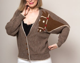 bea965e84bc520 BLUMARINE Alpaca Wool Sweater Horse Sweater Grandpa Cardigan Oversized  Sweater Boho Cardigan Western Wear Cowboy Hippie Bohemian Large