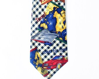 Vintage scratch off world map etsy vintage silk tie car ship cruise airplane print tie plaid world map print tie wanderlust gift scratch off map silk tie blue gumiabroncs Image collections