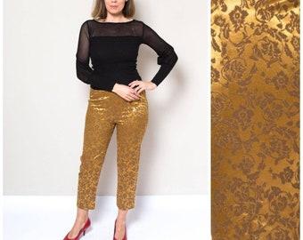 63d9674f5dd663 Vintage floral Brocade Oro Stirrup Pantaloni Alti Pantaloni in vita Pin Up  Rockabilly Tapered Pantaloni francese Workwear Medium W 30