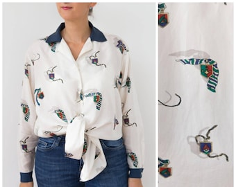 e7f3f117 90s Oversized Silk Blouse Button Up Marine Novelty Coat of Arms Versace  Style Silk Shirt White Navy Nautical Blouse Large Size