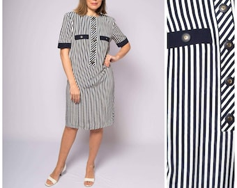 3459809642b Luisa Spagnoli 80s Striped Shirt Dress Padded Shoulder Button Up Dress  Travel Dress Holiday Cruise Vacation Casual Shift Dress Medium