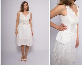 89d0c0ea7d87 White Linen Dress Vintage Summer Dress Santorini Dress Mod Dress Country  Dress Button Up Dress Simple Holiday White Dress Linen Small