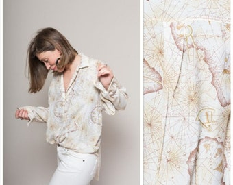 World Map Button Down Shirt.Map Shirt Vintage Etsy In