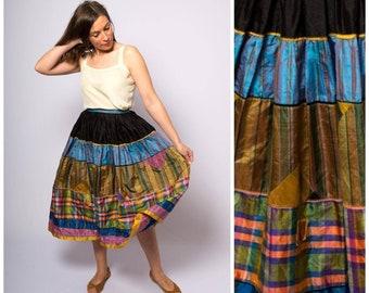 3e1fe1f46 Vintage Circle Midi Skirt Multi Print Stripe Plaid Skirt Style Taffeta 50s  skirt Long Patchwork Skirt Swing Skirt Rockabilly Skirt W 26 XS