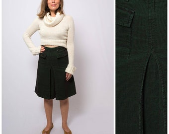 fdcfe563f6 Vintage Forest Green Corduroy Skirt High Waisted 70s Pleated Cotton Velvet  A line Skirt Teacher Secretary Office Skirt Small W 28