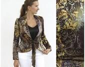 Vintage 80s 90s Silk Evening Jacket Peplum Baroque Leopard Print Satin Jacket Versace Inspired Medium Size Tie Closure