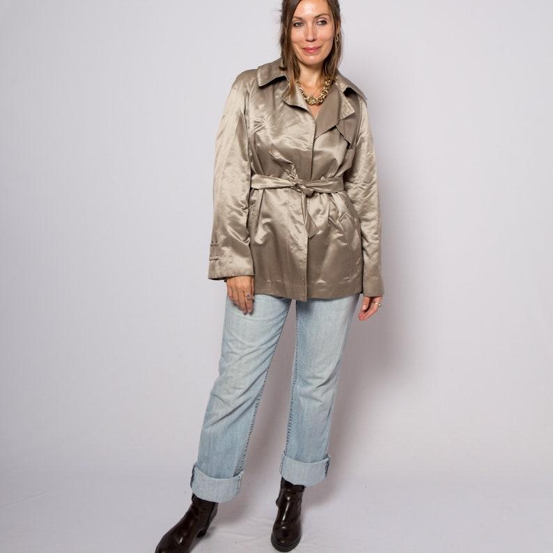 Max Mara Pinaforte Short Trench Coat Metallic Silver Cotton Silk Duster Evening Jacket Large Size